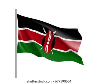 Waving flag of Kenya. Sign african state in proportion correctly and kenyan official colors. Patriotic sign East Africa country.