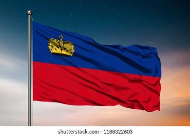 Waving flag of the Liechtenstein. Pole Flag in the Wind. National mark. Waving Liechtenstein Flag. Liechtenstein Flag Flowing.