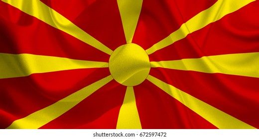 Waving flag of the Macedonia. Flag in the Wind. National mark. Waving Macedonia Flag. Macedonia Flag Flowing. 3d Illustration.