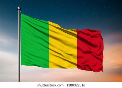 Waving flag of the Mali. Pole Flag in the Wind. National mark. Waving Mali Flag. Mali Flag Flowing.