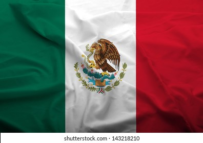 Waving flag of Mexico. Flag has real fabric texture.