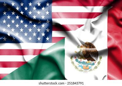 Waving flag of Mexico and USA