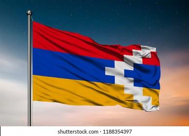 Waving flag of the Nagorno-Karabakh. Pole Flag in the Wind. National mark. Waving Nagorno-Karabakh Flag. Nagorno-Karabakh Flag Flowing.