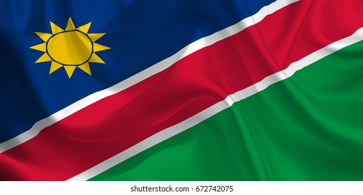 Waving flag of the Namibia. Namibian Flag in the Wind. National mark. Waving Namibia Flag. Namibia Flag Flowing. 3d Illustration.