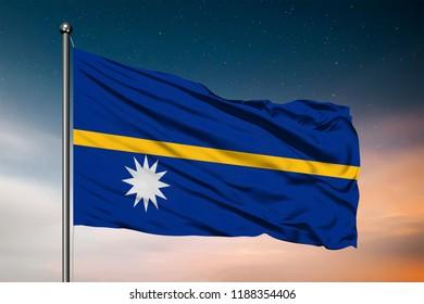 Waving flag of the Nauru. Pole Flag in the Wind. National mark. Waving Nauru Flag. Nauru Flag Flowing.