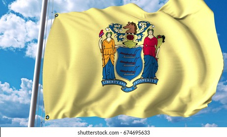 Waving flag of New Jersey. 3D rendering