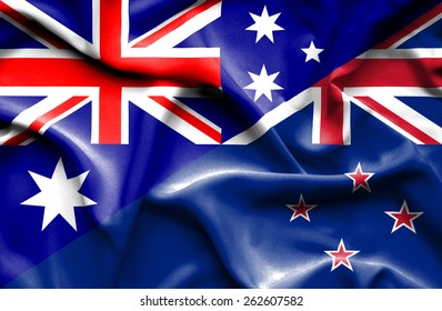 Waving flag of New Zealand and Australia