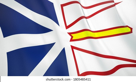 The waving flag of Newfoundland and Labrador . High quality 3D illustration. Perfect for news, reportage, events.