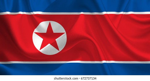 Waving flag of the North Korea. Flag in the Wind. National mark. Waving North Korea Flag. North Korea Flag Flowing. 3d Illustration.