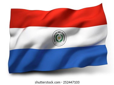 Waving flag of Paraguay isolated on white background
