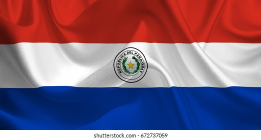 Waving flag of the Paraguay. Flag in the Wind. National mark. Waving Paraguay Flag. Paraguay Flag Flowing. 3d Illustration.