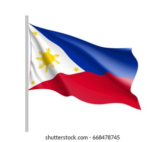 Waving flag of Philippines Republic. Illustration of Asian country flag on flagpole.  3d icon isolated on white background