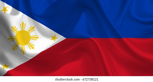 Waving flag of the Philippines. Flag in the Wind. National mark. Waving Philippines Flag. Philippines Flag Flowing. 3d Illustration.