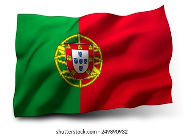 Waving flag of Portugal isolated on white background