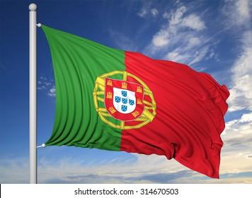 Waving flag of Portugal on flagpole, on blue sky background.
