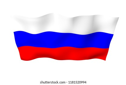 Waving flag of the Russian Federation. The National. State symbol of the Russia. 3D illustration
