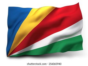 Waving flag of Seychelles isolated on white background