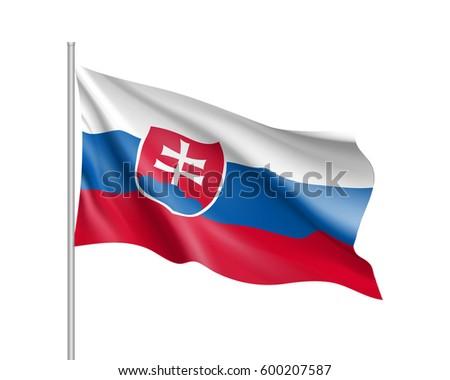 Waving Flag Slovakia State Illustration European Stock