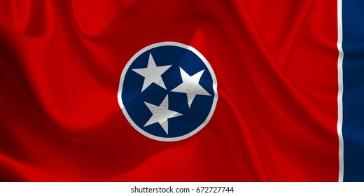 Waving flag of the Tennessee. Flag in the Wind. National mark. Waving Tennessee Flag. Tennessee Flag Flowing. 3d Illustration.