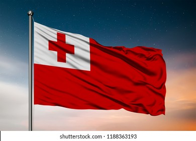 Waving flag of the Tonga. Pole Flag in the Wind. National mark. Waving Tonga Flag. Tonga Flag Flowing.