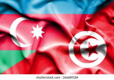 Waving flag of Tunisia and Azerbaijan