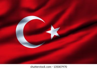 Waving flag of Turkey. Design 1.