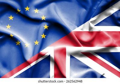 Waving flag of United Kingdon and European Union