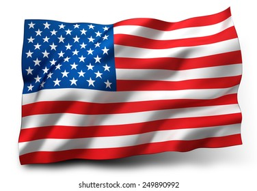Waving flag of the United States isolated on white background