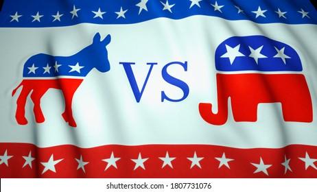 waving flag, us republican party elephant emblem vs democratic party donkey emblem, background, 3d illustration. Election  2020. Washington - USA, August, 2020