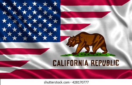 Waving flag of USA and California state (USA)