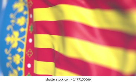 Waving flag of Valencian Community, an autonomous region in Spain. Close-up, 3D rendering