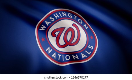Waving flag with Washington Nationals professional team logo. Close-up of waving flag with Baseball Washington Nationals club logo, seamless loop. Editorial clip