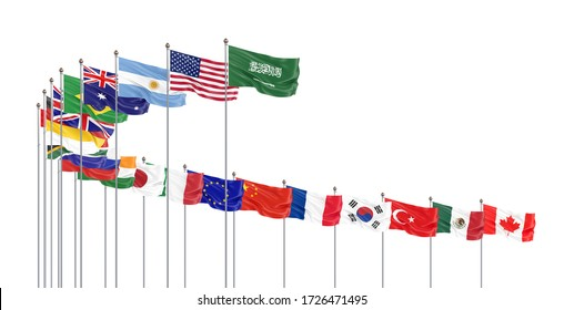 Waving flags countries of members Group of Twenty. Big G20 21–22 November 2020 in the capital city of Riyadh, Saudi Arabia. Isolated on white. 3d rendering.  Illustration.