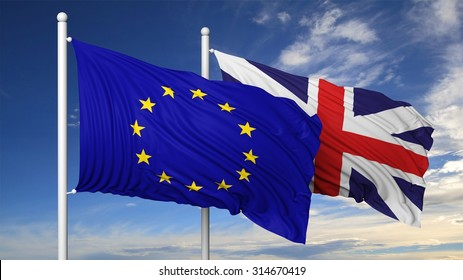 Waving flags of EU and UK on flagpole, on blue sky background.