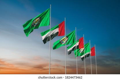 Waving flags of Gulf Cooperation Council of the Persian Gulf States - Bahrain, Kuwait, Oman, Qatar, Saudi Arabia, and the United Arab Emirates at sunset sky background. GCC. 3D rendering