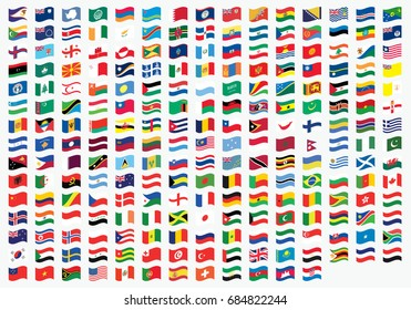 Waving Illustrated Flags of the World