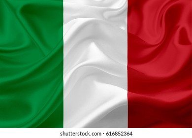 Waving Italian Flag, with a fabric texture