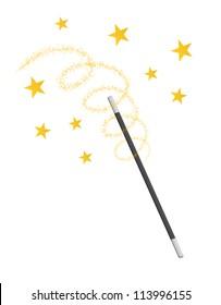 waving magic wand isolated on white background