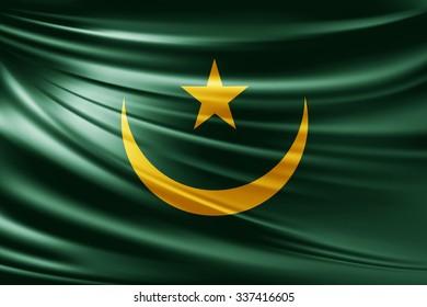 Waving Mauritania  flag of silk