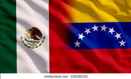 Waving Mexico and Venezuela Flag