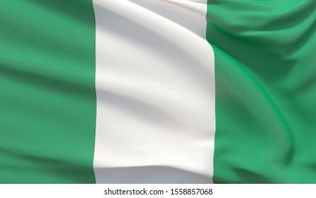 Waving national flag of Nigeria. Waved highly detailed close-up 3D render.
