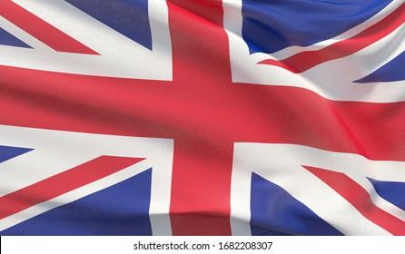 Waving national flag of UK. Waved highly detailed close-up 3D render.