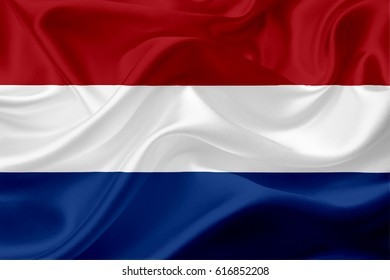 Waving Netherlands Flag, with a fabric texture