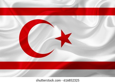 Waving Northern Cyprus Flag, with a fabric texture