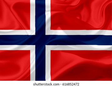 Waving Norway Flag, with a fabric texture