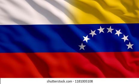 Waving Russia and Venezuela Flag