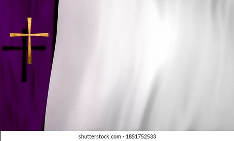 Waving satin with golden Christian Cross on liturgic violet and white copy space. 3D illustration concept for online worship church sermon in Advent and Lent symbolizing penance sacrifice and mourning