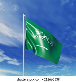 Waving  Saudi Arabian  flag against cloudy sky. High resolution  render.