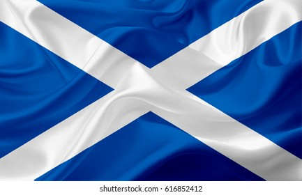 Waving Scotland Flag, with a fabric texture