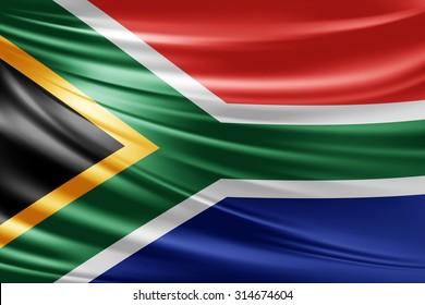 bd85c67342b Waving South Africa flag of silk